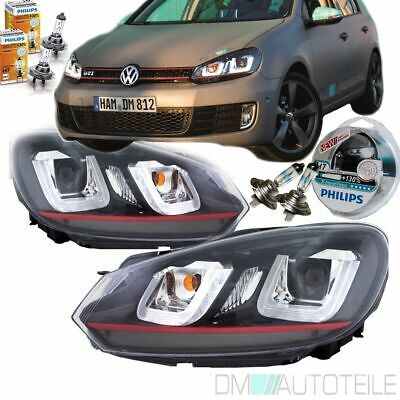 ORIGINAL DM VW Golf 6 Scheinwerfer Set 08-12 Rote Leiste 3D U LED GTI DESIGN