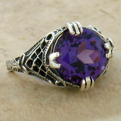 5 Ct COLOR CHANGING LAB ALEXANDRITE 925 SILVER ANTIQUE DESIGN RING SZ 10,  #382