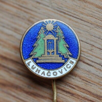 Luhacovice Town Natural Spring Water Fountain, Vintage Czech Pin Badge
