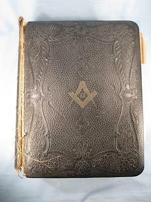 Antique Freemasonry Masons Masonic Leather Bound Bible Large 1903 Copyright (O)