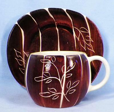 Purinton Intaglio Cup & Saucer Brown Brush Strokes Incised Flower As Is Cond