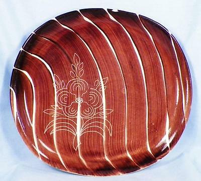 Purinton Intaglio Dinner Plate Brown Brush Strokes Incised Flower As Is Cond
