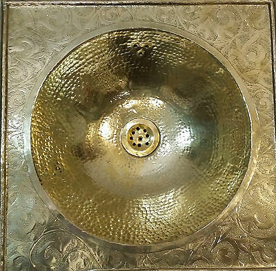 Square Copper Handmade Moroccan Sink Basin, Hammered & Engarved 39x39 cm