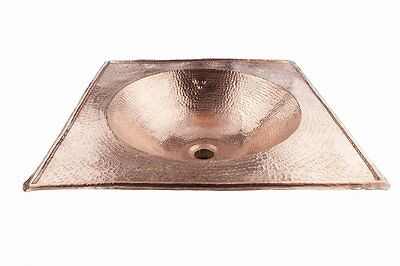Large Square Red Copper Handmade Moroccan Sink, Basin - Hammered - L49x49 cm