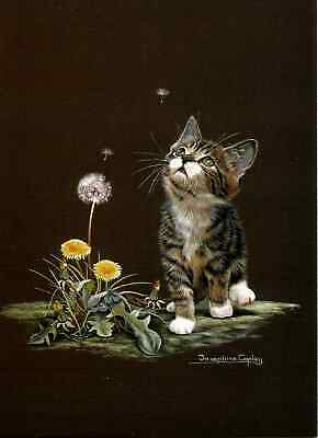 "Sally Mitchell Card - ""Wishes"" Kitten & Dandelion Cat Print By Josephine Copley"