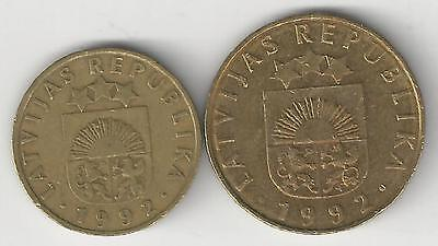 2 DIFFERENT COINS from LATVIA - 5 & 20 SANTIMU (BOTH DATING 1992)
