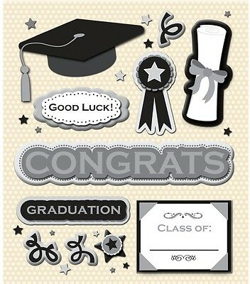 GRADUATION THEMED SILVER METALLIC STICKERS 5X12 INCH SHEET SANDYLION CAP DIPLOMA