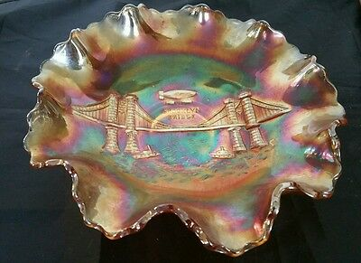 Rare Carnival Glass Bowl  Brooklyn Bridge  And Zeppelin From 1930's