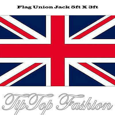 NEW LARGE 5ft x 3ft BRITISH CLOTH UNION JACK 5' X 3' FLAG In Polyester Material