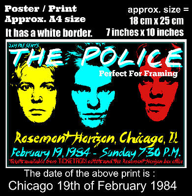 The Police live concert Rosemont Chicago 19th February 1984 A4 size poster print