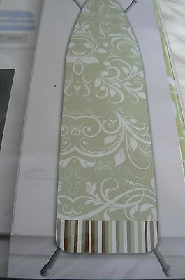 WESTEX  DELUXE EXTRA THICK IRONING BOARD COVER-PAD GREEN WHITE FLORAL STRIPE NIP