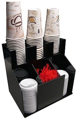 Cup lid dispensers Holder coffee Condiment Caddy Rack Sugar officeOrganizer