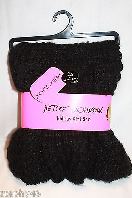 NEW! BETSEY JOHNSON Black Shimmer Chunky Knit Snood & Fingerless Texting Gloves