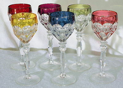 6 Tommy Pattern Style Crystal France Wine Glasses Art Nouveau Marie Antoinette