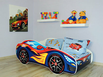 Racing Car Bed 5 colours, Childrens Bed with mattress (160x80cm) 4 Kids + Pillow