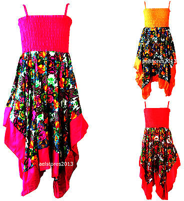 New Girls Floral Paisley Summer Handkerchief Hanky Holiday Dress Age 3-10 Years