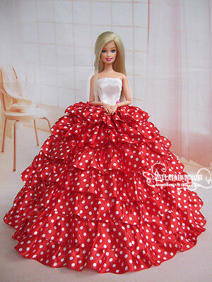 Fashion Royalty Princess Red polka-dot Dress Ballgown Gown For 11.5in.Doll c003