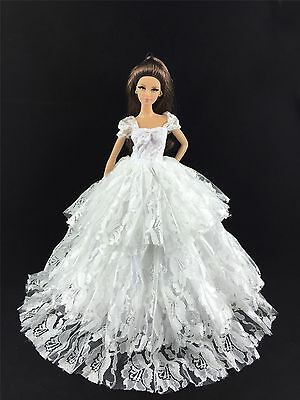 Fashion Royalty Princess White Dress Clothes Wedding gown for Barbie Doll C-48