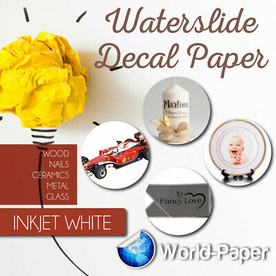 20 sheets WHITE INKJET waterslide decal paper for model cars or nail decals