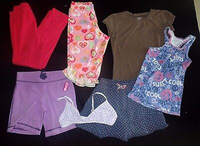 girls LOT 7 pc size 6 6X 7 SKORT SKIRT PJ BOTTOMS SHIRTS TOP TRAINING BRA PANTS