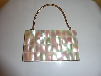 Vintage Mother Of Pearl And Brass Purse Compact Free Shipping To Usa