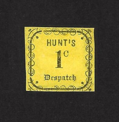 Hugh Becket 1860s bogus Hunt's 1c Despatch black/yellow carrier stamp