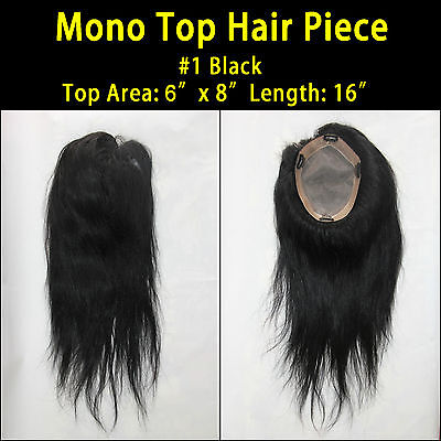 "Mono Top Piece Wigs 100% Remy Human Hair 6""x8""area 16""long"