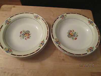 """Set of 6 W.H. Grindley & Co 7 5/8"""" Bowls in the Ivory Pattern"""