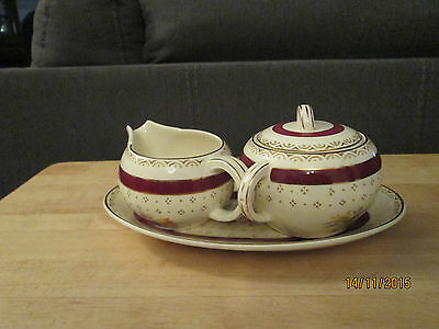 Selston-Burgundy pattern by Wood & Sons Cream & Covered Sugar DIsh on Tray
