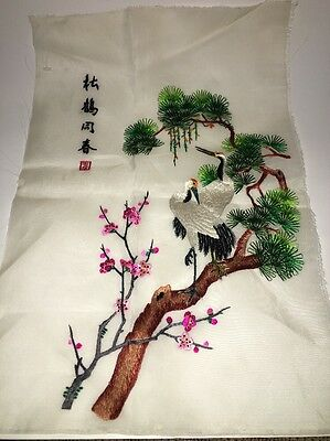 Chinese embridery silk needlework birds , Tree with flowers handmade Picture