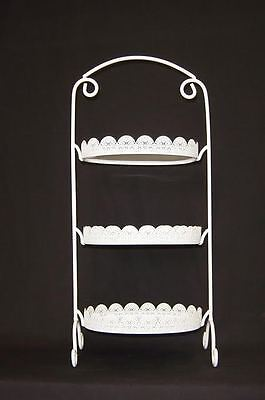 Oblong White Laser Cut Metal 3 Tier Cake Stand