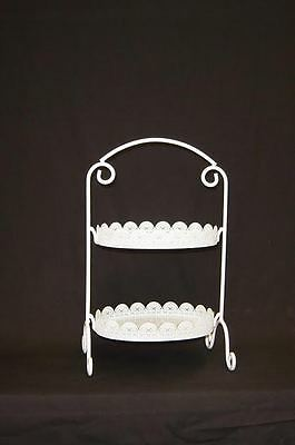 Oblong White Laser Cut Metal 2 Tier Cake Stand