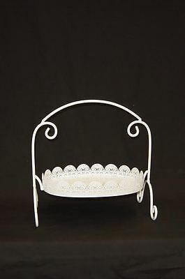 Oblong White Laser Cut Metal 1 Tier Cake Stand