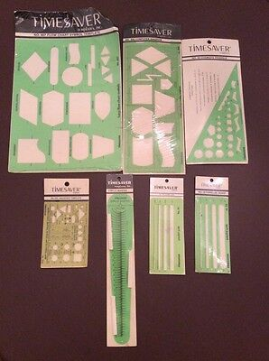 LOT OF 7 ASSORTED TIMESAVER NOS DRAFTING TEMPLATES 287,533,31,32,50,807, & more