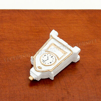 1:12 Vintage White Desk Table Clock Dollhouse Bracket Clock Miniature Decor Gift