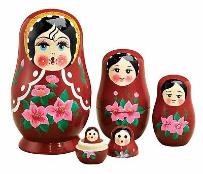 Traditional Russian Nesting Doll Set/5, Red