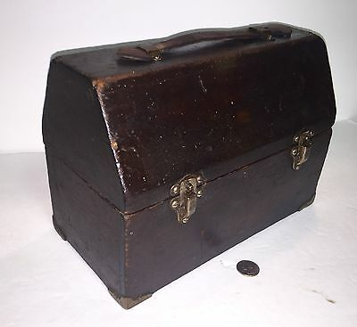 Rare Lunchbox Early Wooden Dome Top Leather Handle Brass Eagle Locks Look