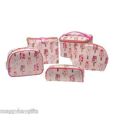 Pink Lollies Cosmetics Bag Set–Make up–Vanity–Wash–Travel-Train-Pencil Case