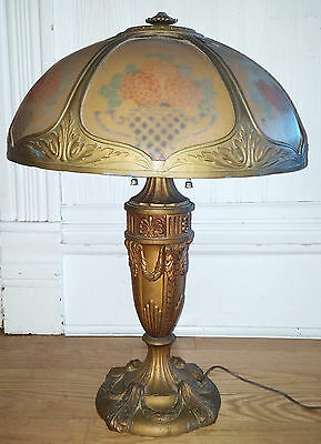 Antique Vtg Cast Metal Table Lamp w/ Ridged Reverse Printed Floral Panel Shade
