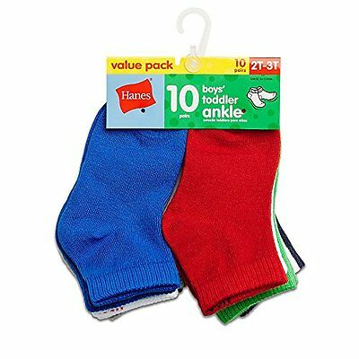 Hanes Boys` Toddler Ankle Socks, 27/10, 4T-5T, Assorted