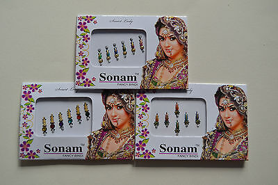 Fancy indian bindis multicoloured, gem adhesive bridal head *CHOOSE YOUR STYLE*