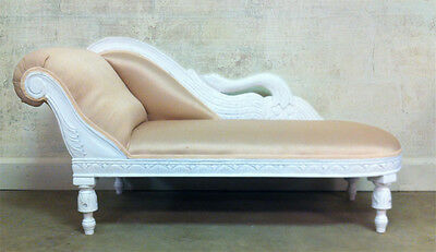 Child's Swan Chaise Lounge Sofa—White w/ Cream Fabric—Photography Prop