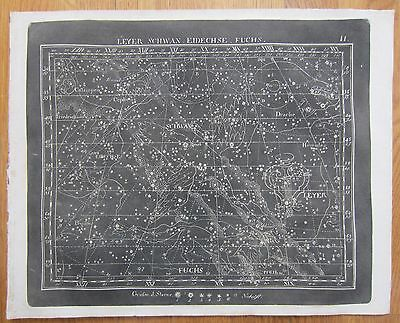Goldbach: Rare Black and White Celestial Map Lyra Swan Constellation - 1799