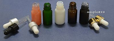 5pcs 10ml Multicolor Empty Glass Dropper Bottle Essential Oil bottles new