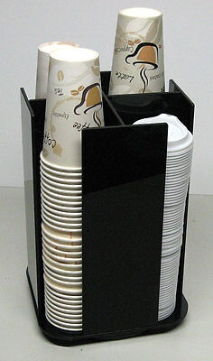 Cup office Lid Spinning Coffee Dispenser Holder Condiment Caddy Rack Organizer