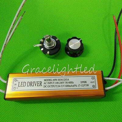 7-12x3W 36W Dimmable Constant Current Power Supply LED Driver for Aquarium Light