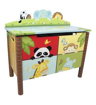 Teamson Kids Wooden Sunny Safari Toy Chest - Jungle Animal Storage Toy Box Decor