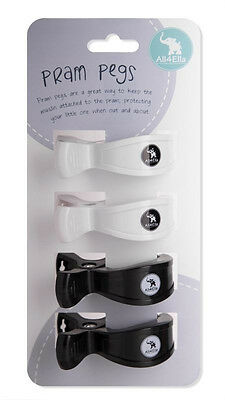 All4Ella Pram Pegs 4 Pack Black & White Four Pk Stroller Clips Baby Shower Gift