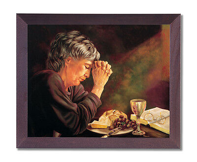 Daily Bread Woman Praying at Table Grace Religious Cherry Frame Art Print