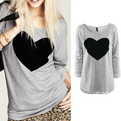 Love Heart Blouse  Loose  Casual  Ladies  Long Sleeve T Shirt Tops Women Fashion